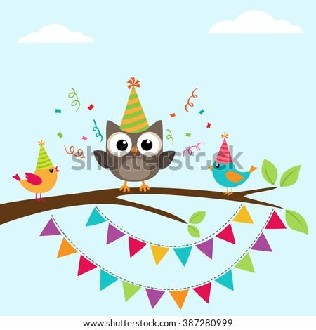 Vector happy birthday greeting card with birds on tree - stock vector