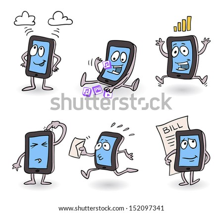 Vector happy, busy working smart phone cartoon - stock vector