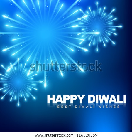 vector happy diwali fireworks background - stock vector