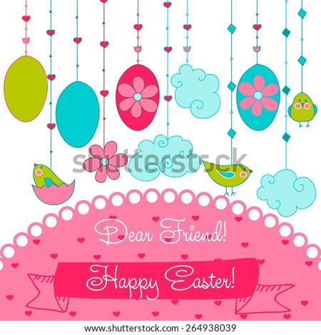 Vector Happy Easter  card for dear friend - stock vector