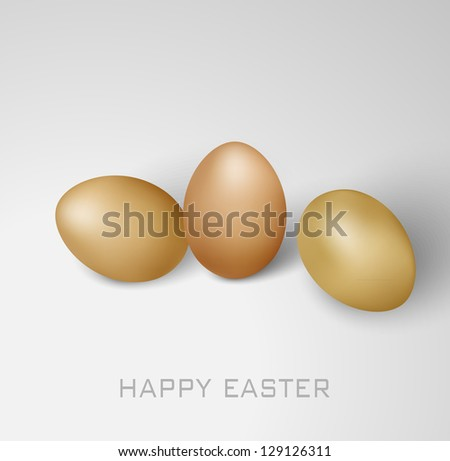 Vector Happy Easter card with eggs on the grey background - stock vector