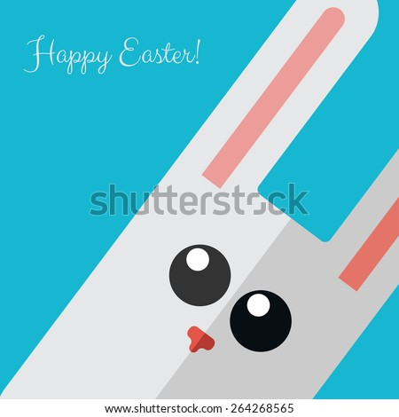 Vector Happy Easter card with flat rabbit. Eps10 - stock vector