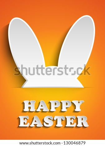 Vector - Happy Easter Rabbit Bunny on Orange Background - stock vector