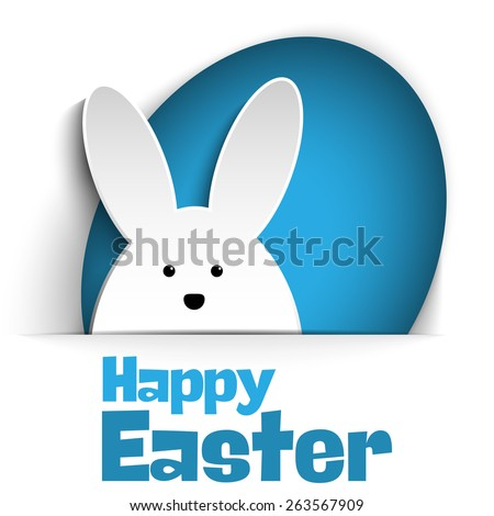 Vector - Happy Easter Rabbit Bunny on White Background