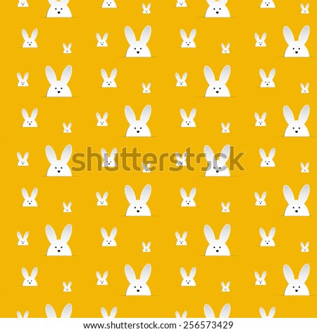 Vector - Happy Easter Rabbit Bunny Orange Seamless Background - stock vector