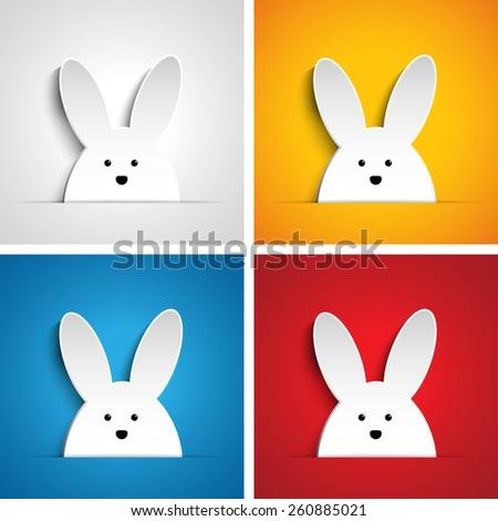 Vector - Happy Easter Rabbit Bunny Set Cartoon - stock vector