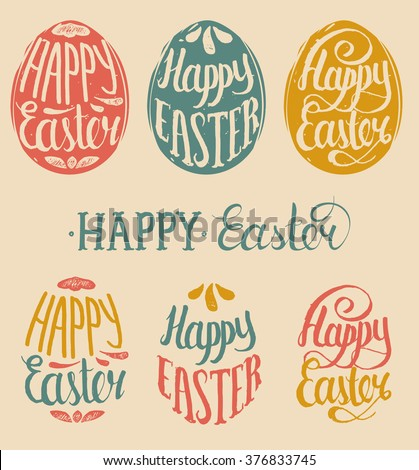 Vector Happy Easter type cards in the egg shape - stock vector