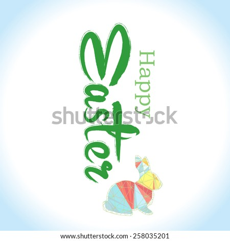 Vector: Happy Easter Typographical Background with easter bunny, easter rabbit - stock vector