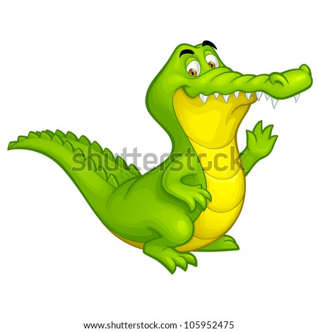 Vector happy fun crocodile cartoon smiling alligator character toy illustration isolated on white background - stock vector