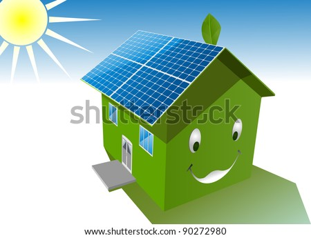 vector happy green house with solar system roof,raster version available - stock vector