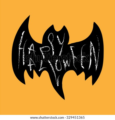 Vector happy halloween banner with hand drawn calligraphy, Illustration EPS10 - stock vector