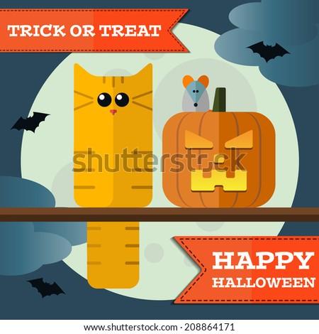 Vector happy halloween cat front moon with pumpkin. Eps 10 - stock vector