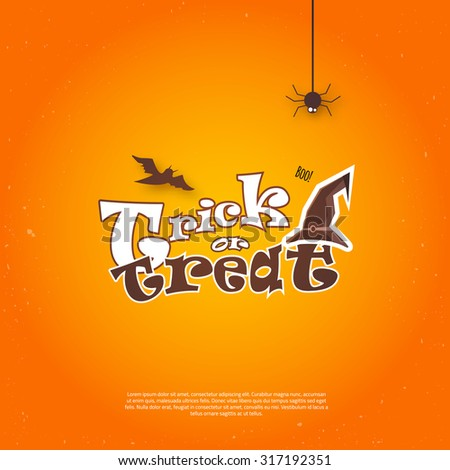 Vector Happy Halloween Poster invitation with hat and bat. EPS10 - stock vector