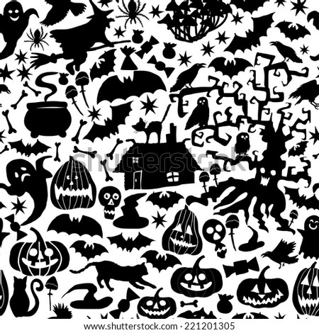 Vector Happy Halloween seamless pattern,classic bundle icons, doodles element for Halloween design. Set of Halloween silhouettes. Black and white - stock vector