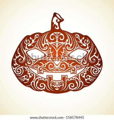 Vector Happy Halloween template with ornate pumpkin - stock vector