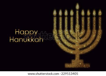 """Vector """"Happy Hanukkah"""" card - stock vector"""
