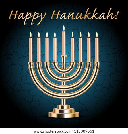 "Vector ""Happy Hanukkah!"" turquoise wish card with Hanukkah Menorah - stock vector"