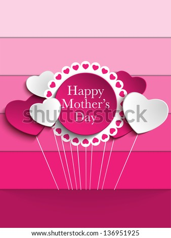 Vector - Happy Mother Day Heart Tag Background - stock vector