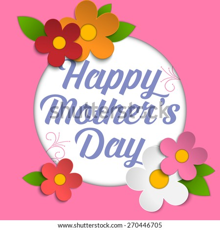 Vector - Happy Mothers Day Card with Flowers - stock vector