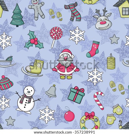 Vector  Happy New Year and Merry Christmas pattern with Santa Claus,Christmas tree - stock vector