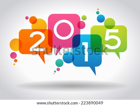 Vector 2015 Happy New Year background.  The file is saved in the version AI10 EPS. This image contains transparency. - stock vector