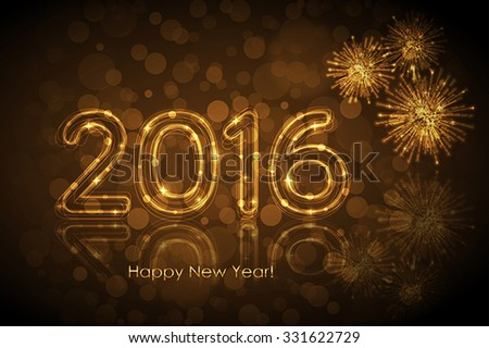 Vector Happy New Year 2016 background with glowing numbers - stock vector