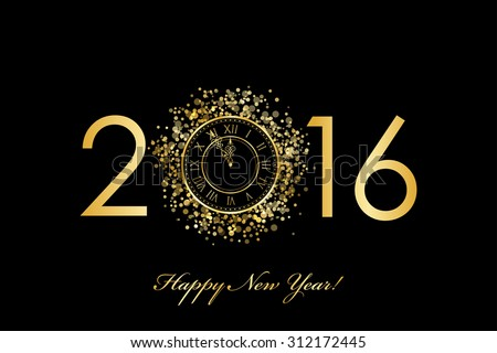 Vector 2016 Happy New Year background with gold clock - stock vector