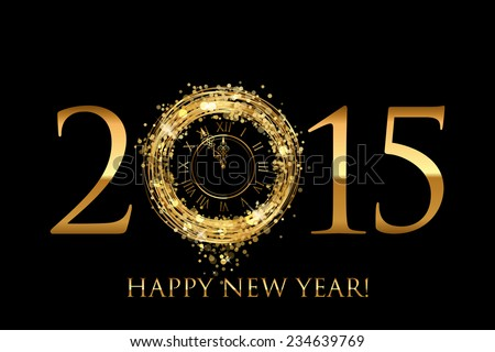 Vector 2015 Happy New Year background with gold shiny clock - stock vector