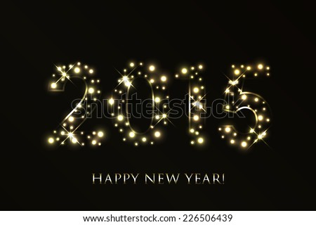 Vector 2015 Happy New Year background with gold sparkles - stock vector