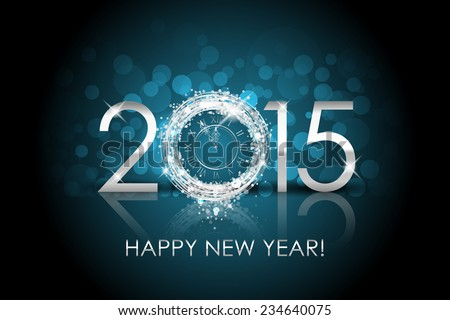 Vector 2015 Happy New Year background with silver clock - stock vector