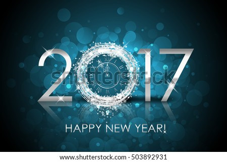 Vector 2017 Happy New Year background with silver clock