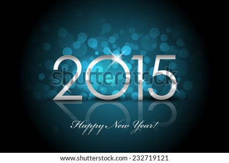 Vector 2015 - Happy New Year blue background blur - stock vector