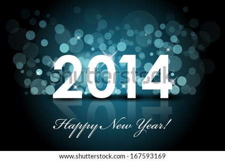 Vector 2014 - Happy New Year blue background with snow - stock vector