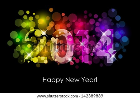 Vector Happy New Year - 2014 colorful background - stock vector