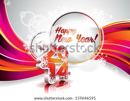 Vector Happy New Year 2014 colorful celebration background. EPS 10 illustration. - stock vector