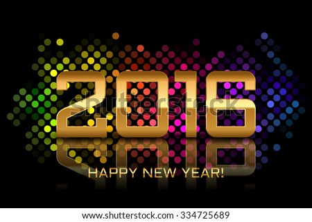 Vector - Happy New Year 2016 - colorful disco lights frame - stock vector