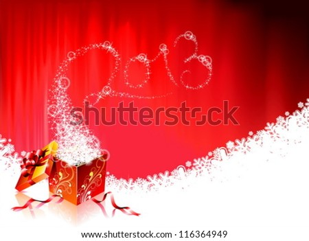 Vector Happy New Year design with shiny magic gift box and 2013 text on a wave snowflakes background. - stock vector