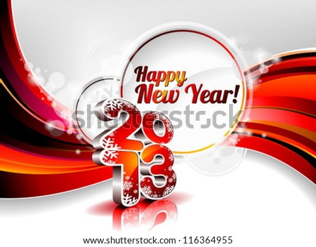 Vector Happy New Year design with shiny 2013 text on a wave background. - stock vector