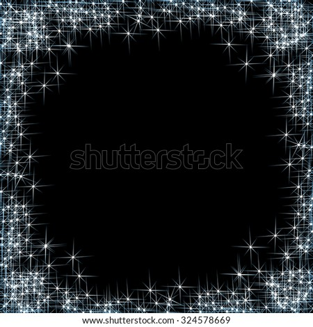 Vector happy New Year, frame with silver stars on the black background - stock vector