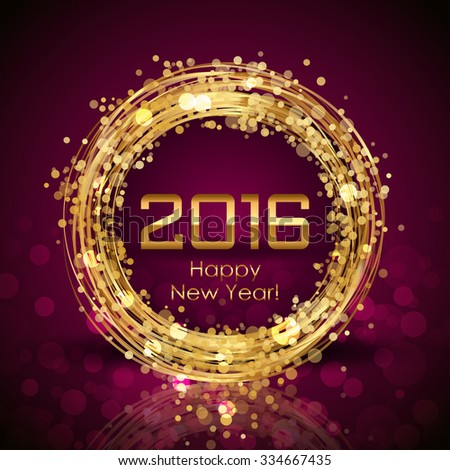 Vector 2016 Happy New Year glowing background - stock vector
