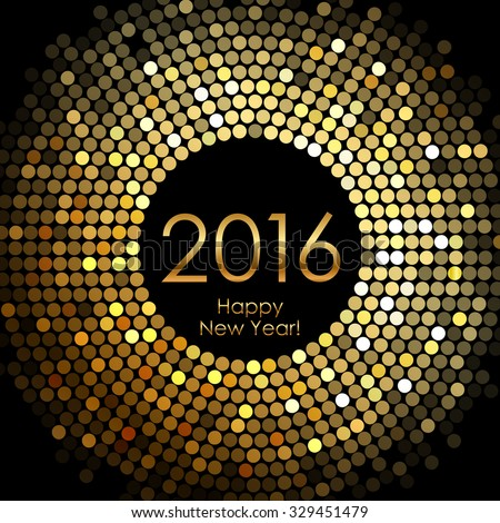 Vector - Happy New Year 2016 - gold disco lights frame - stock vector