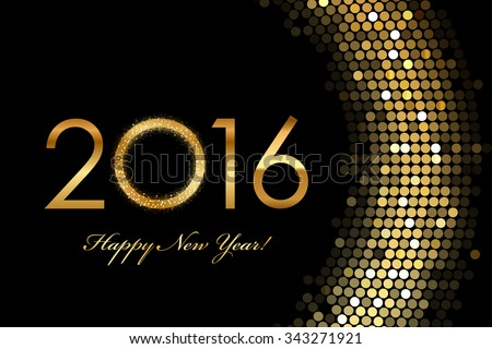 Vector - 2016 Happy New Year golden glowing - stock vector
