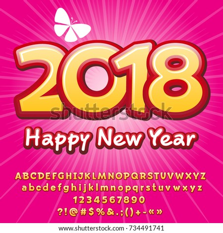 Vector Happy New Year 2018 Greeting Card For Children Alphabet Letters Numbers Symbols