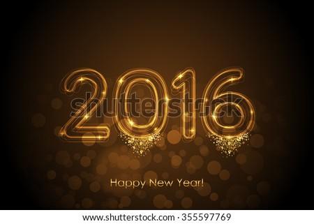 Vector Happy New Year 2016 magic background - stock vector