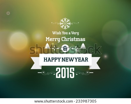 Vector happy new year, merry Christmas greeting and invitation card.