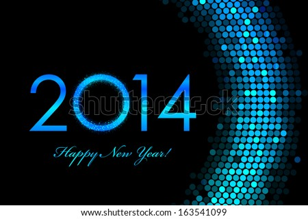 Vector 2014 Happy New Year purple background - stock vector