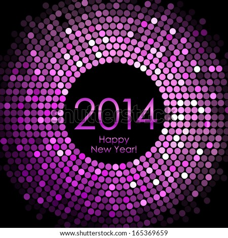Vector - Happy New Year 2014 - purple disco lights background - stock vector