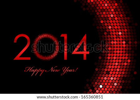 Vector 2014 Happy New Year red background - stock vector