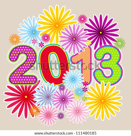 Vector Happy New Year 2013 with floral background