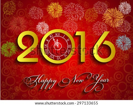 Vector 2016 Happy New Year with gold clock and fireworks background  - stock vector